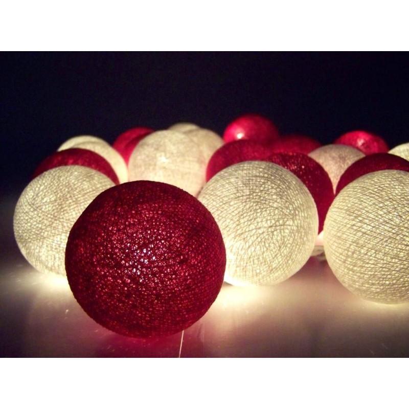 lichterkette aus baumwollkugeln rot wei slc009. Black Bedroom Furniture Sets. Home Design Ideas