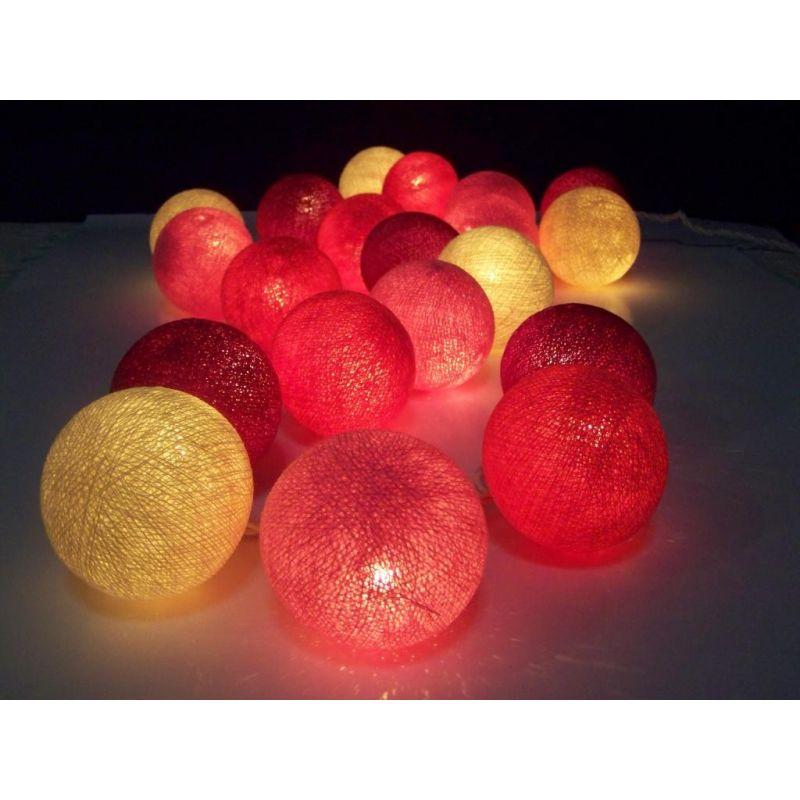 Christmas lights made of cotton balls, pink mix