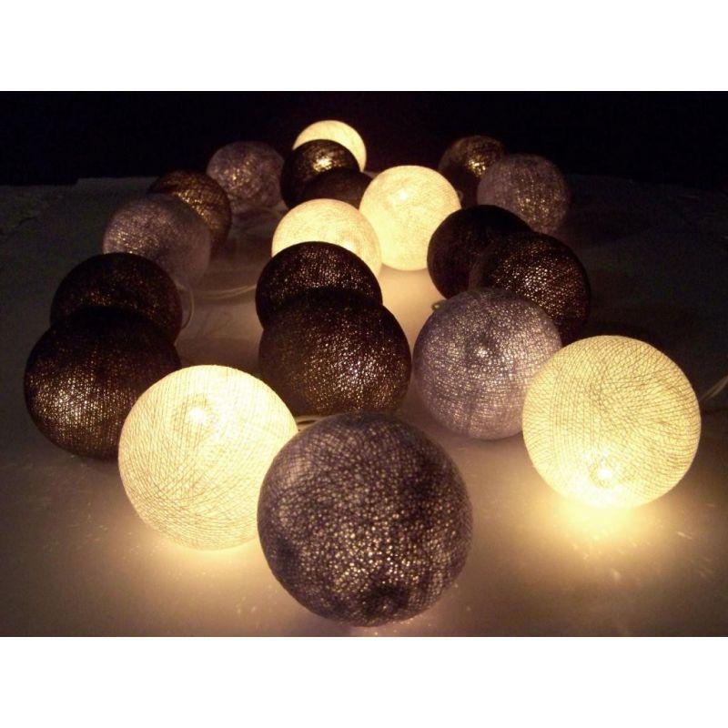 Lichterkette aus Baumwollkugeln, grau mix