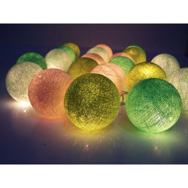 Light chain made of cotton balls, green mix