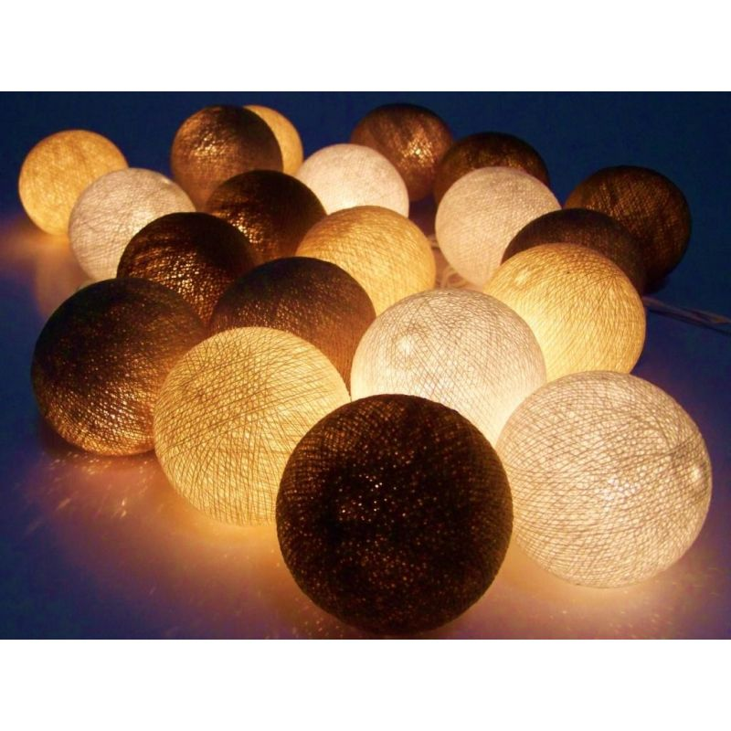 Christmas lights made of cotton balls, brown mix