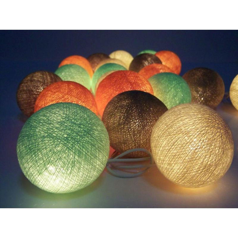 Christmas lights made of cotton balls, pastel mix
