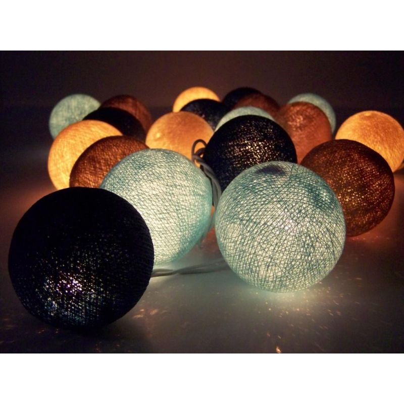 Light chain made of cotton balls, brown blue