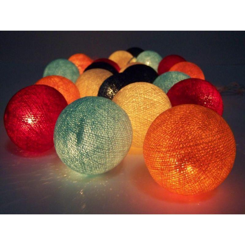 Lichterkette aus Baumwollkugeln, 5 Farben