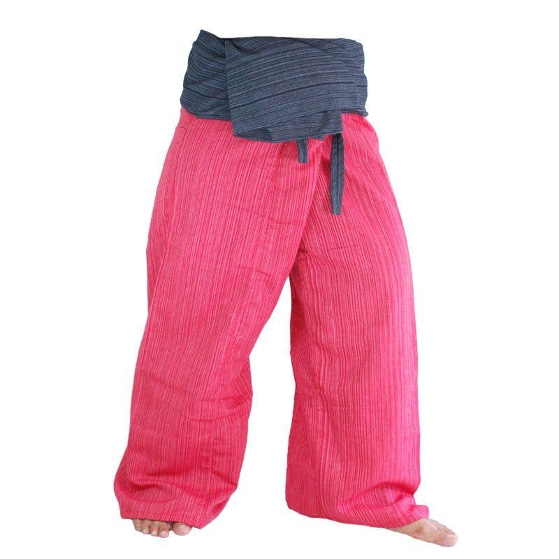 Pescador tailandés pantalones mezcla de algodón - rojo negro