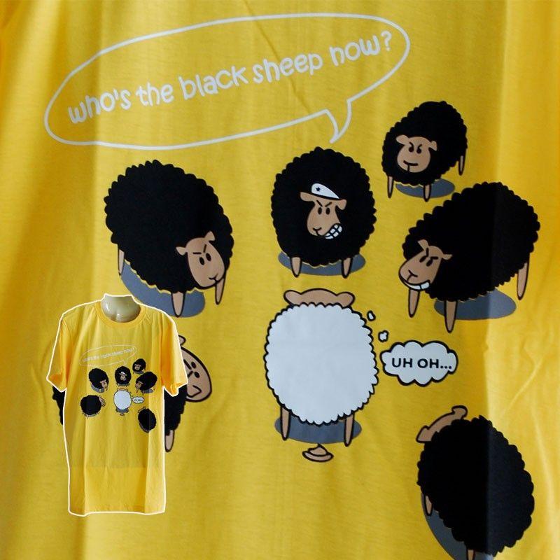 T-Shirt Wer ist das schwarze Schaf? Größe L gelb
