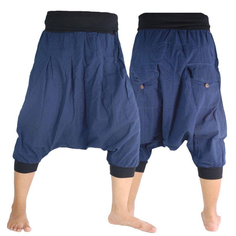 3/5 pantalones harem pantalones holgados azul