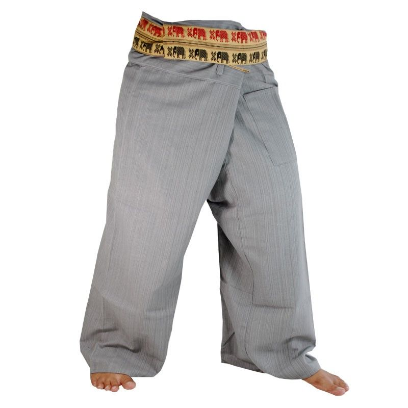 Envuelva los pantalones con la frontera del patrón - Algodón - Gris