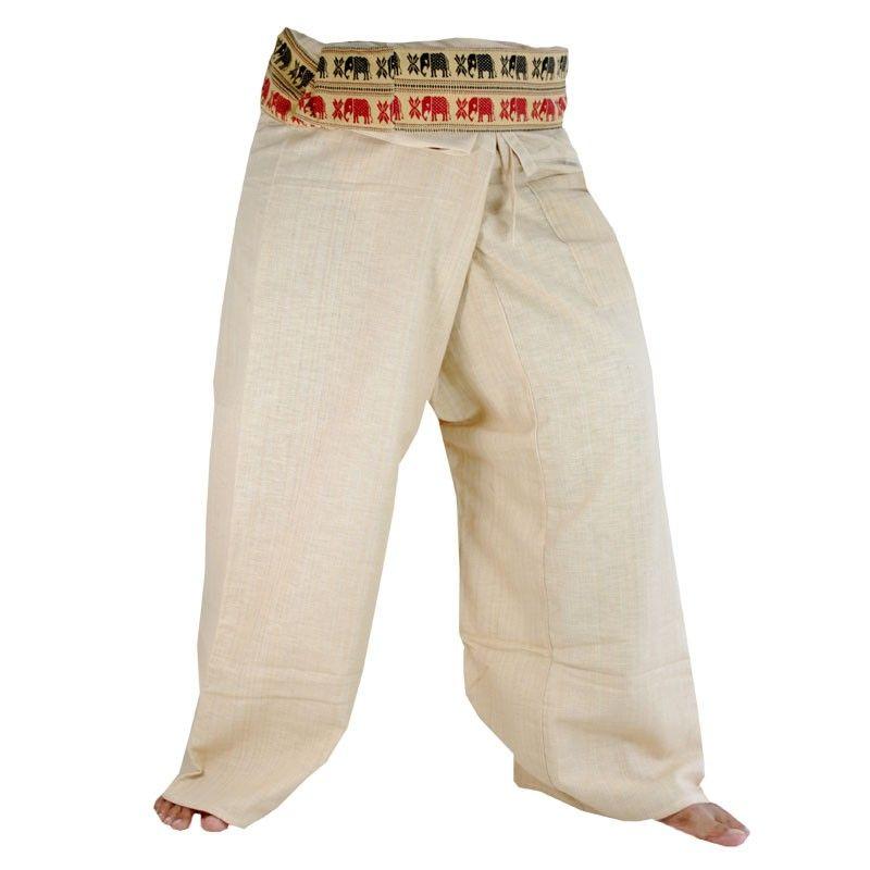 Envuelva los pantalones con adornos estampados - algodón - sin teñir