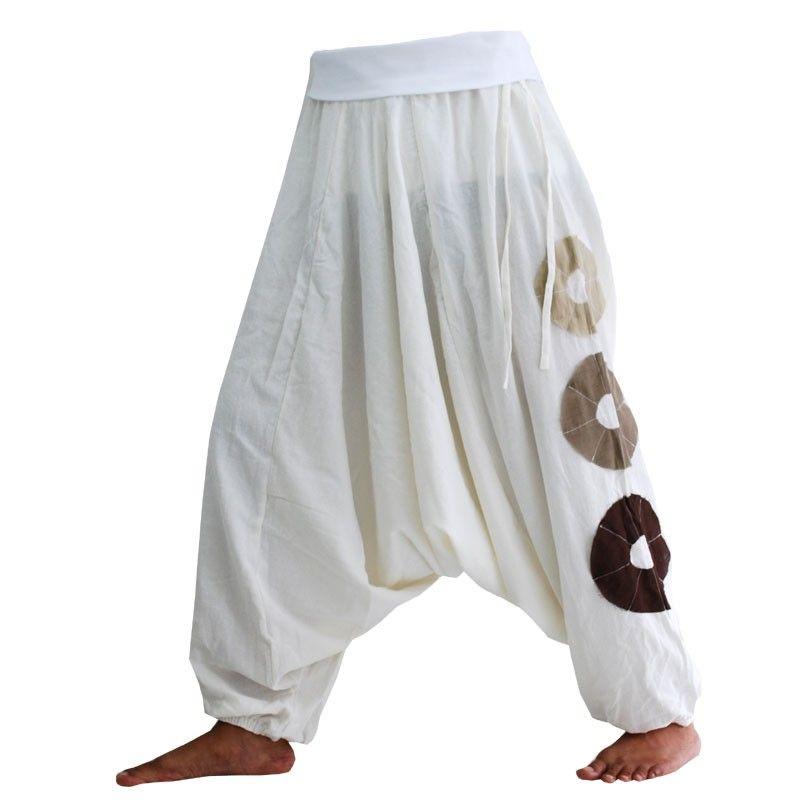 Pantalones bombachos blancos, algodón