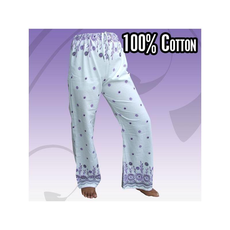 impresa pantalones hippie para atar con motivos florales