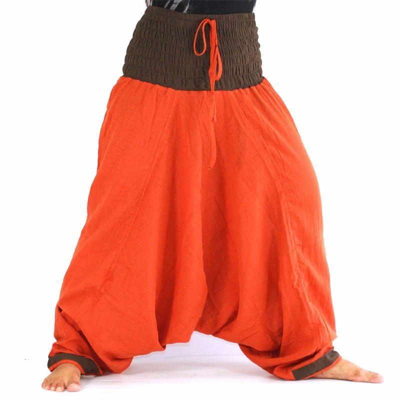 Baggy Pants - orange / brown
