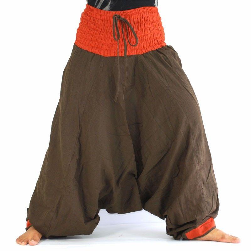 Baggy trousers - dark brown/orange