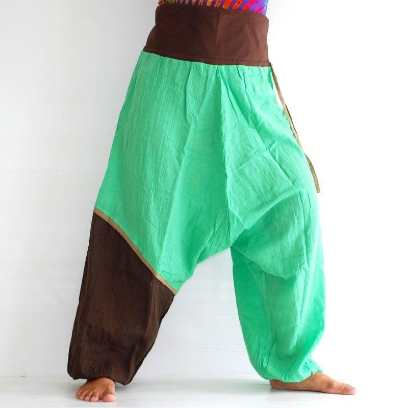 Aladdin Pants - mint, brown