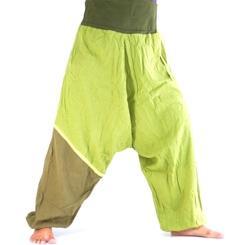 Baggy trousers - green, olive green colored heel leg