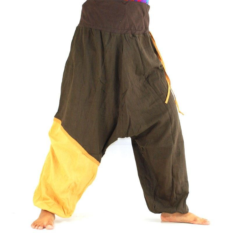 Aladinhose - dunkelbraun, hellbrauner farbiger Absatz am Bein