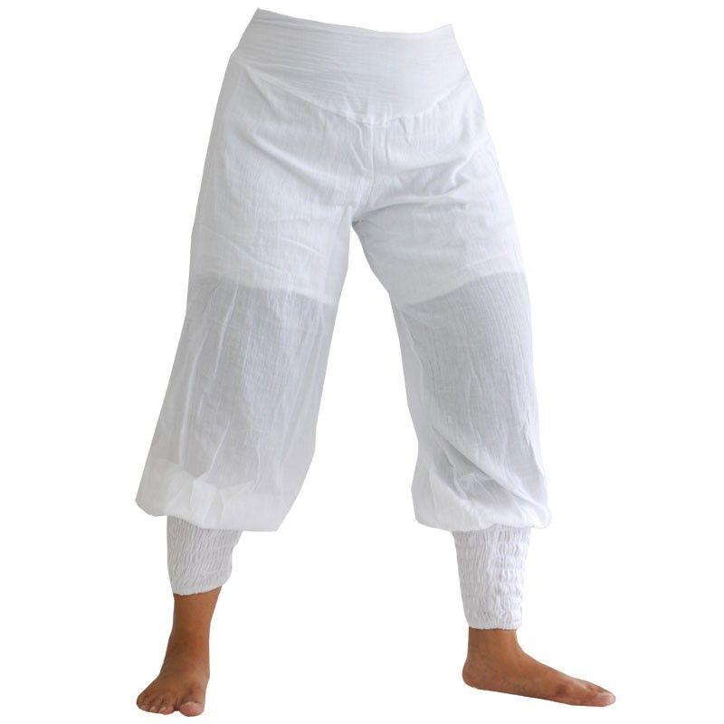 Pantalón bombacho - algodón - blanco