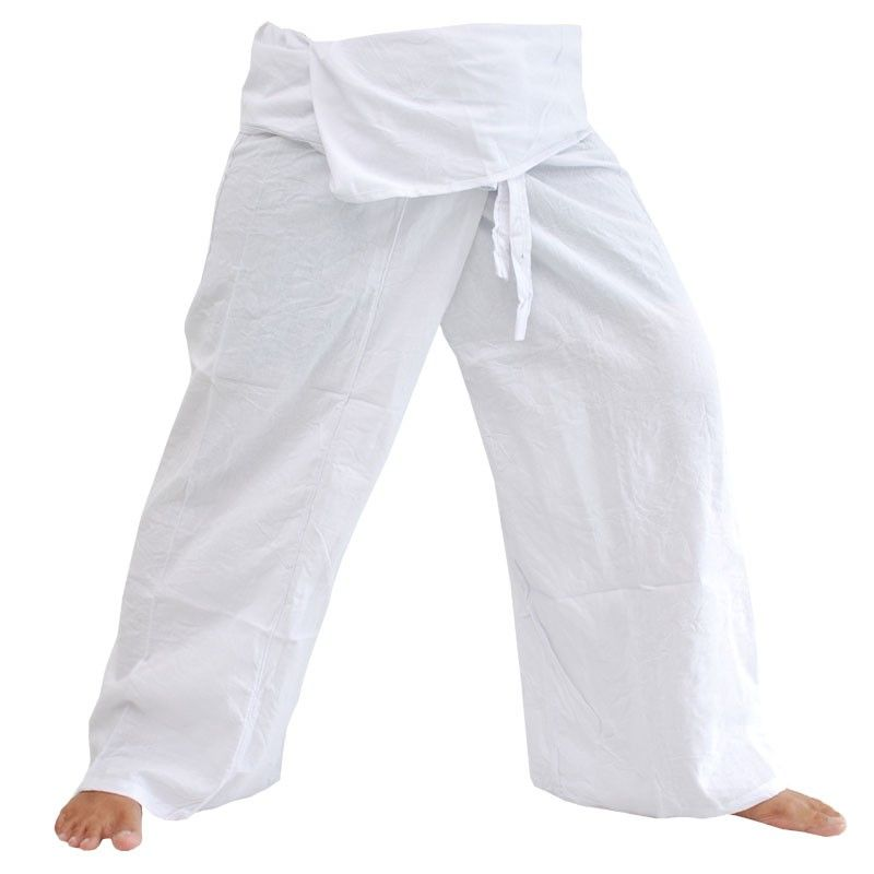 Thai fisherman pants - white - cotton
