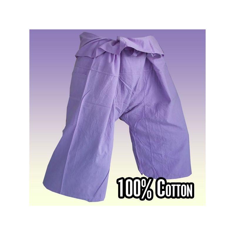 3/4 pantalones de pescador tailandés - color de la lila / magenta claro - Algodón