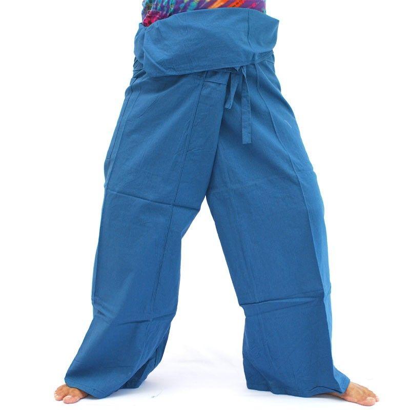 Pantalones pescador tailandés - azul - Algodón
