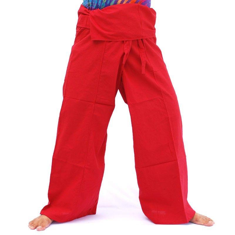 Pantalón pescador Thai - rojo-algodón
