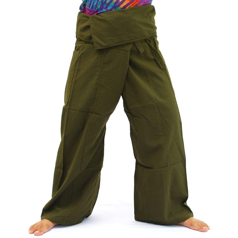 Pantalones pescador tailandés - olive green - Algodón