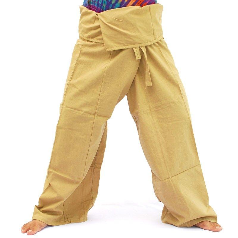 Pantalones de pescador tailandés - beige - algodón