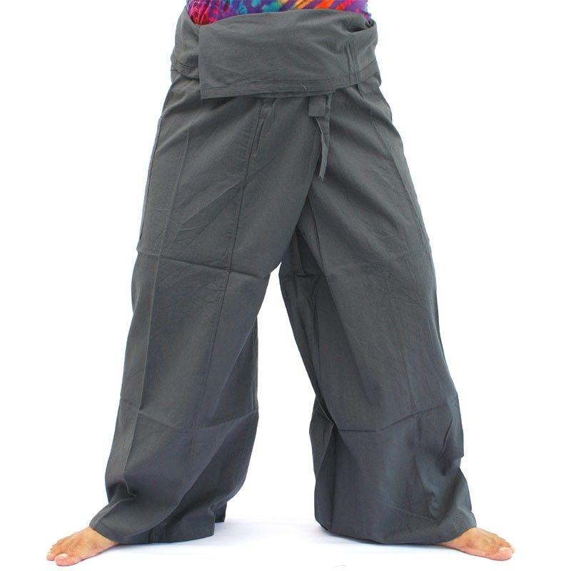 pantalones pescador tailandés - negro / gris - Algodón