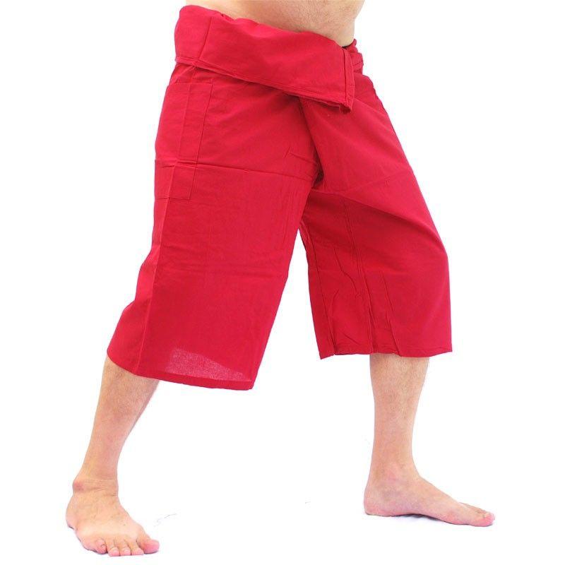 4.3 los pantalones cortos del pescador tailandés - rojo oscuro - Algodón