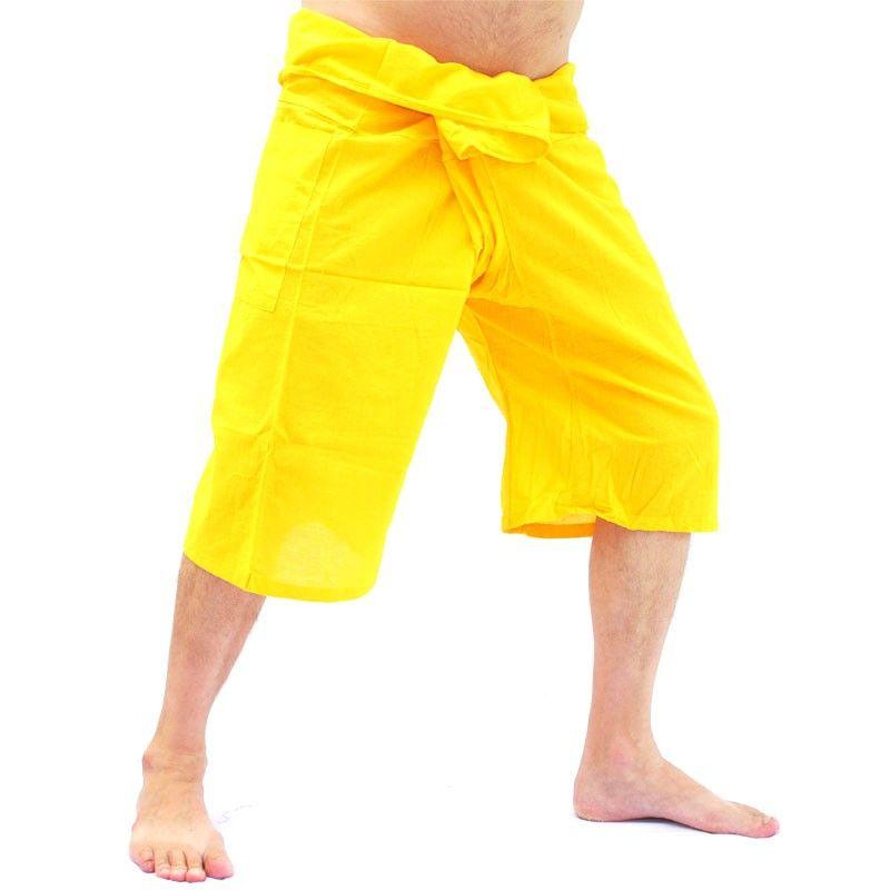 Pescador Thai Sabaai Sabaai 3/4 pantalones de algodón - amarillo-