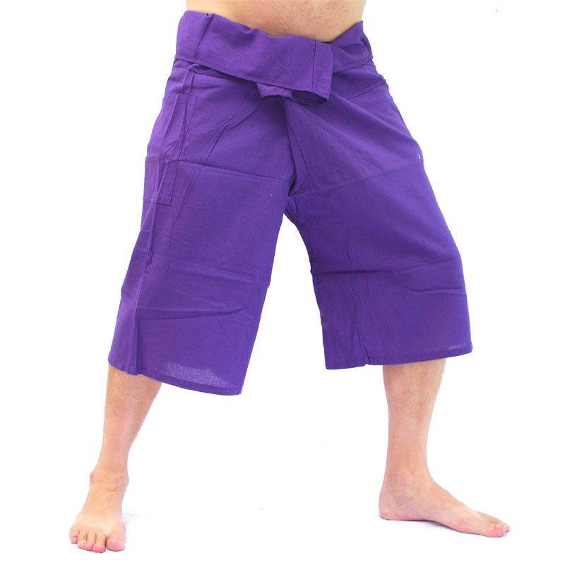 Pescador Thai 3/4 pantalones de algodón - magenta-