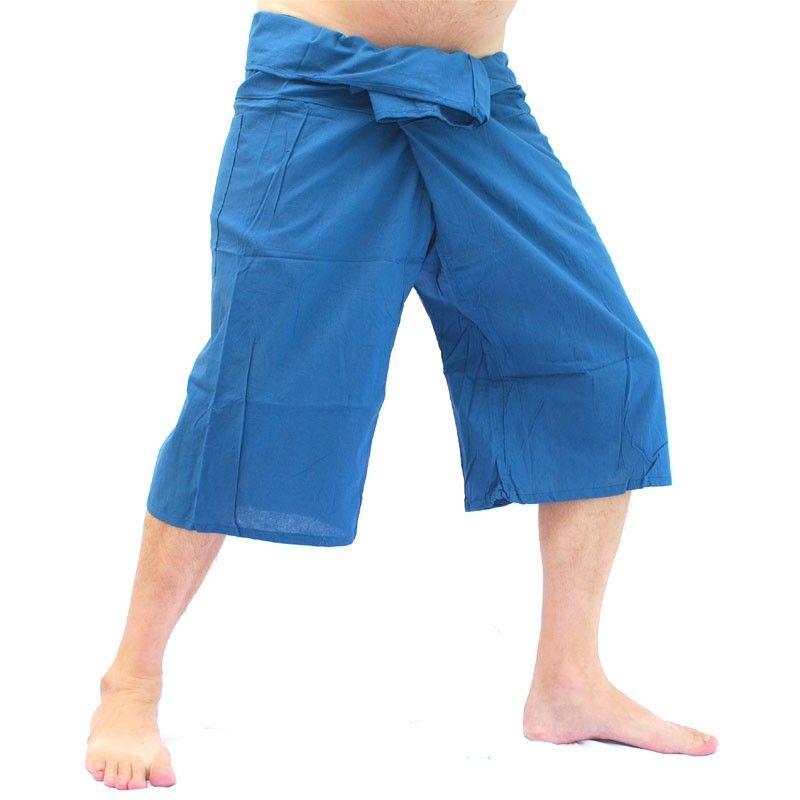 SanSan Sii Nam Ngoen 3/4 Pescador pantalones tailandeses - Dark Blue - Algodón