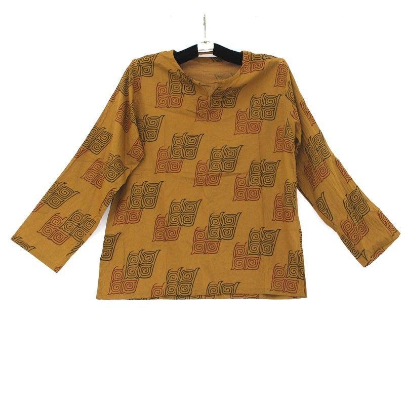 Baumwollhemd mit traditionellen thailändischen Ornamenten Größe L