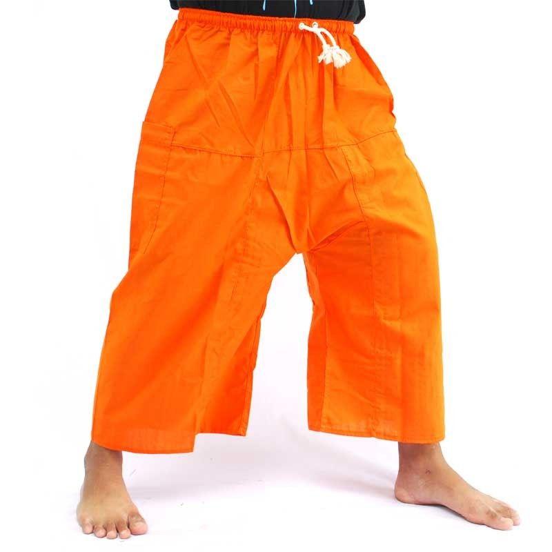 Pantalones cortos de boxeador tailandés Fisherman - naranja