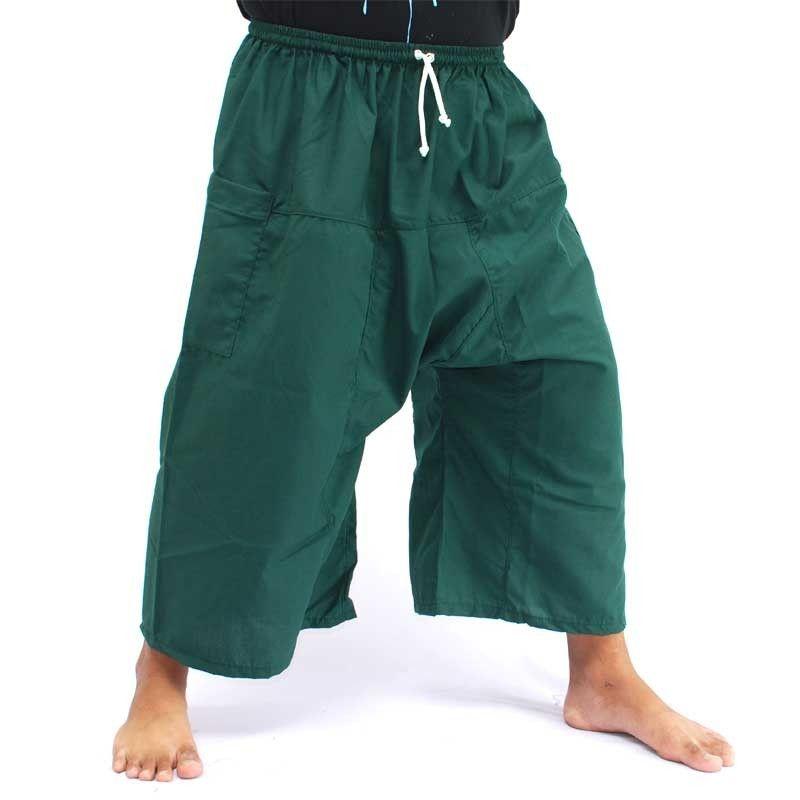 3/4 pescador Thai Boxer shorts - verde oscuro