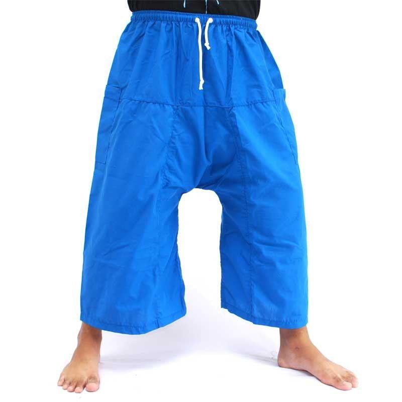 3/4 pescador Thai Boxer cortos - azul