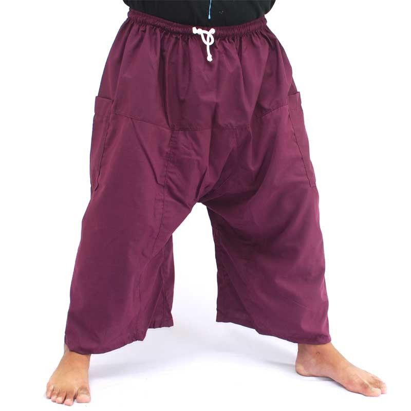 3/4 Thai Fisherman Boxer Shorts - dark magenta