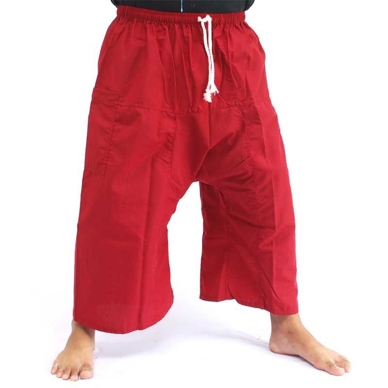 3/4 Thai Fisherman Boxer Shorts - Red
