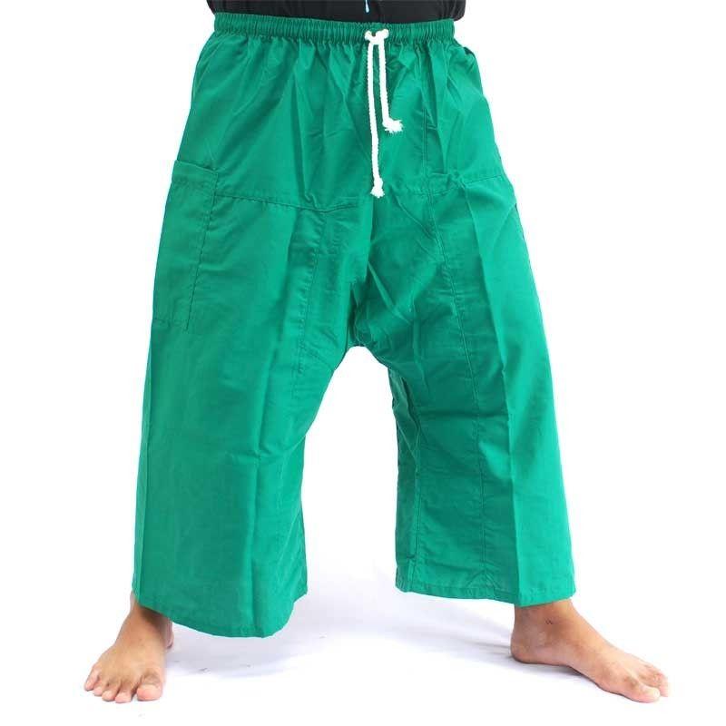 3/4 pescador Thai Boxer shorts - verde