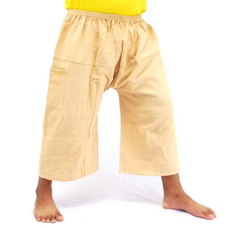 3/4 pescador Thai Boxer shorts - algodón ocre amarillo