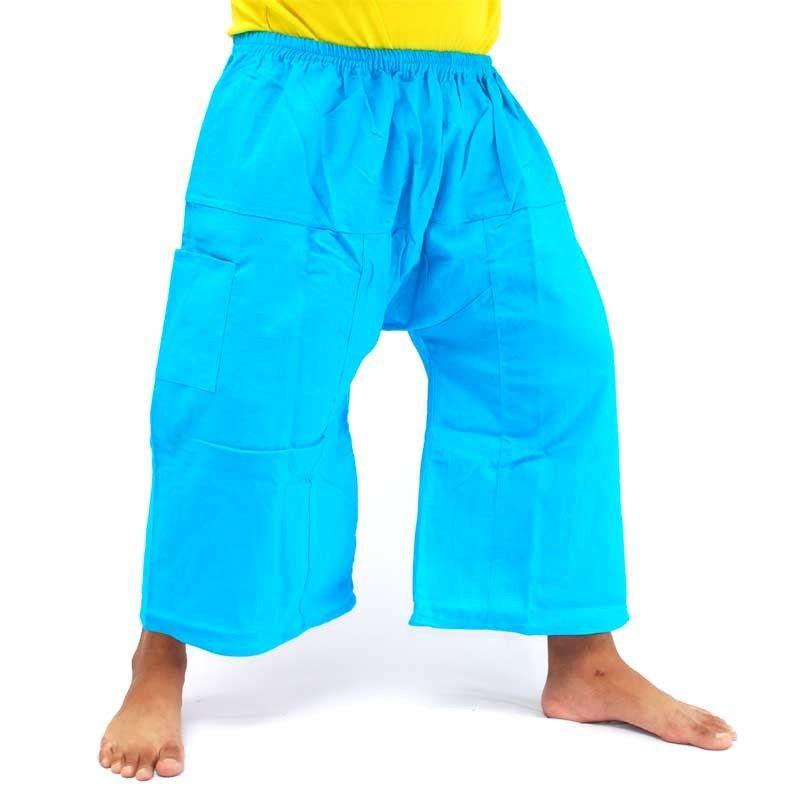 Cortocircuitos del boxeador tailandés pescador 3/4 - algodón, azul