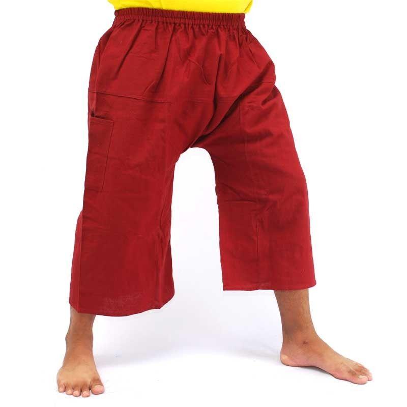 3/5 pescador Thai Boxer shorts - algodón, rojo