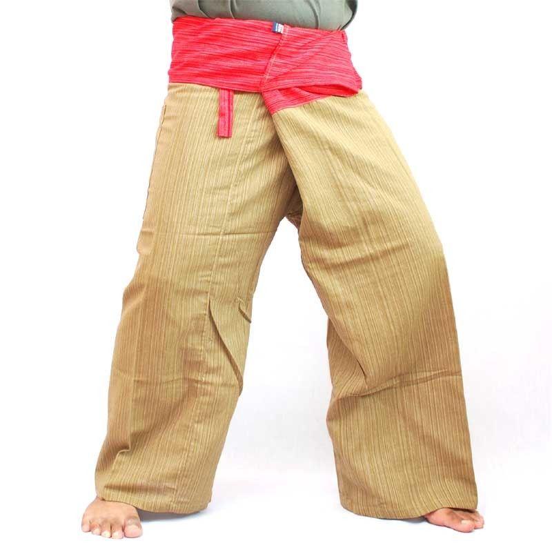 Thai pantalones mezcla de algodón - rojo marrón