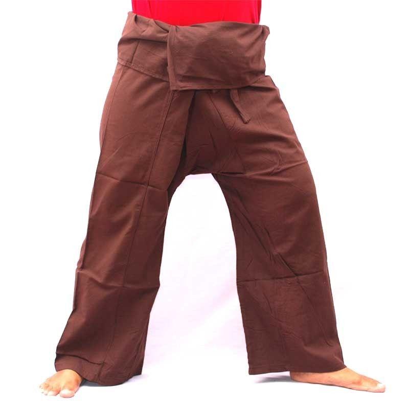 Pescadores tailandeses pantalones - marrón oscuro - algodón con bolsillo lateral