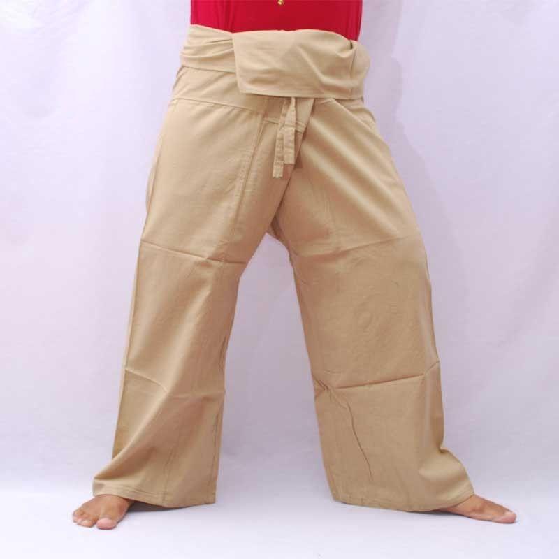 Fisherman Hose - helles khaki - Baumwolle mit Seitentasche