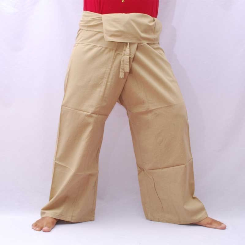 Pescador pantalones - luz de color caqui - algodón con bolsillo lateral