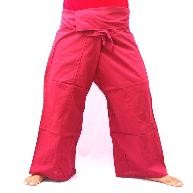 Algodón - rojo oscuro - los pantalones de pescador