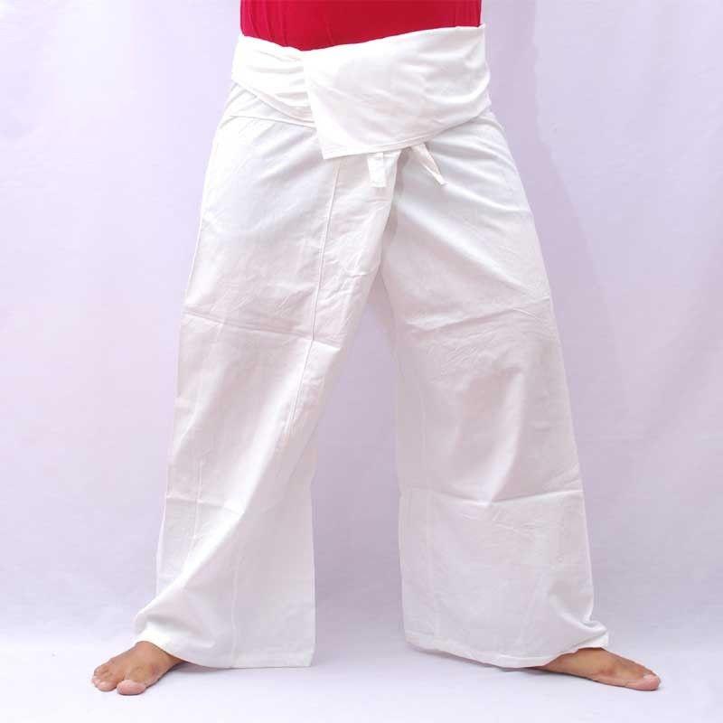 Pantalones de pescador Thai - blanco - algodón con tamaño de bolsillo lateral M