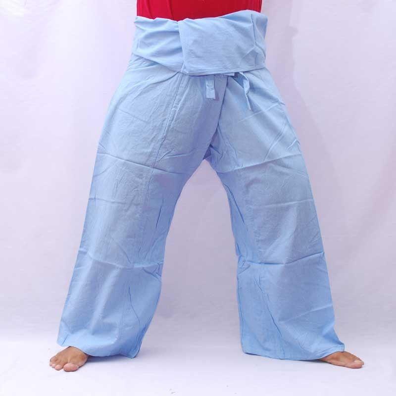 Pantalones de pescador Thai - cielo azul - algodón con bolsillo lateral