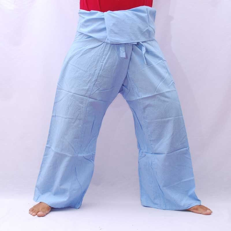 Thai fisherman pants - sky blue - cotton with side pocket